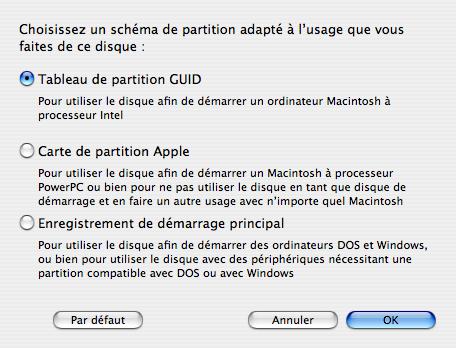 Le panneau des options pour déterminer le type de schéma de partition du disque.