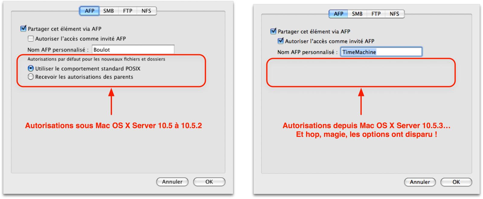 Depuis Mac OS X Server 10.5.3, l\'option d\'héritage des permissions a disparu