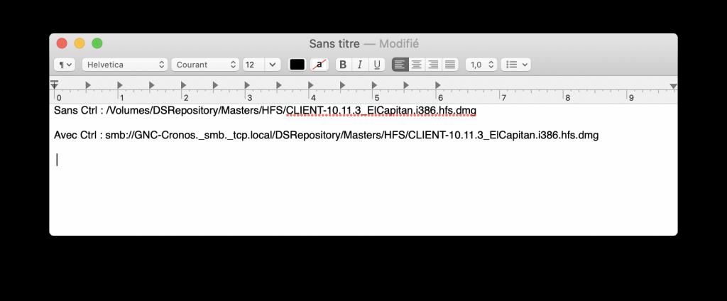 Un document texte avec deux liens.