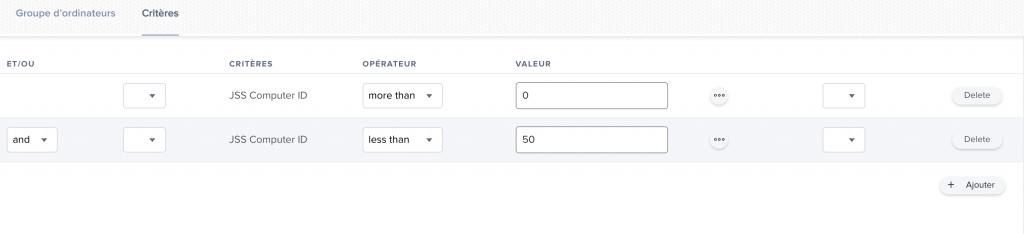 Capture d'écran de Jamf Pro pour illustrer la création de groupes d'une certaine taille.