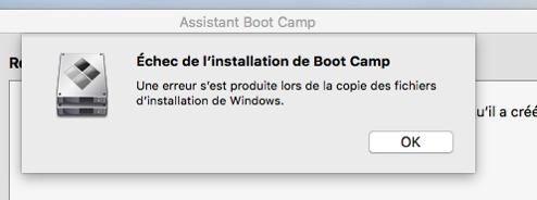 BootCamp Erreur