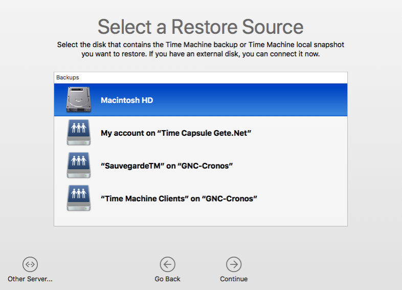 Time Machine Restore local snapshot 1