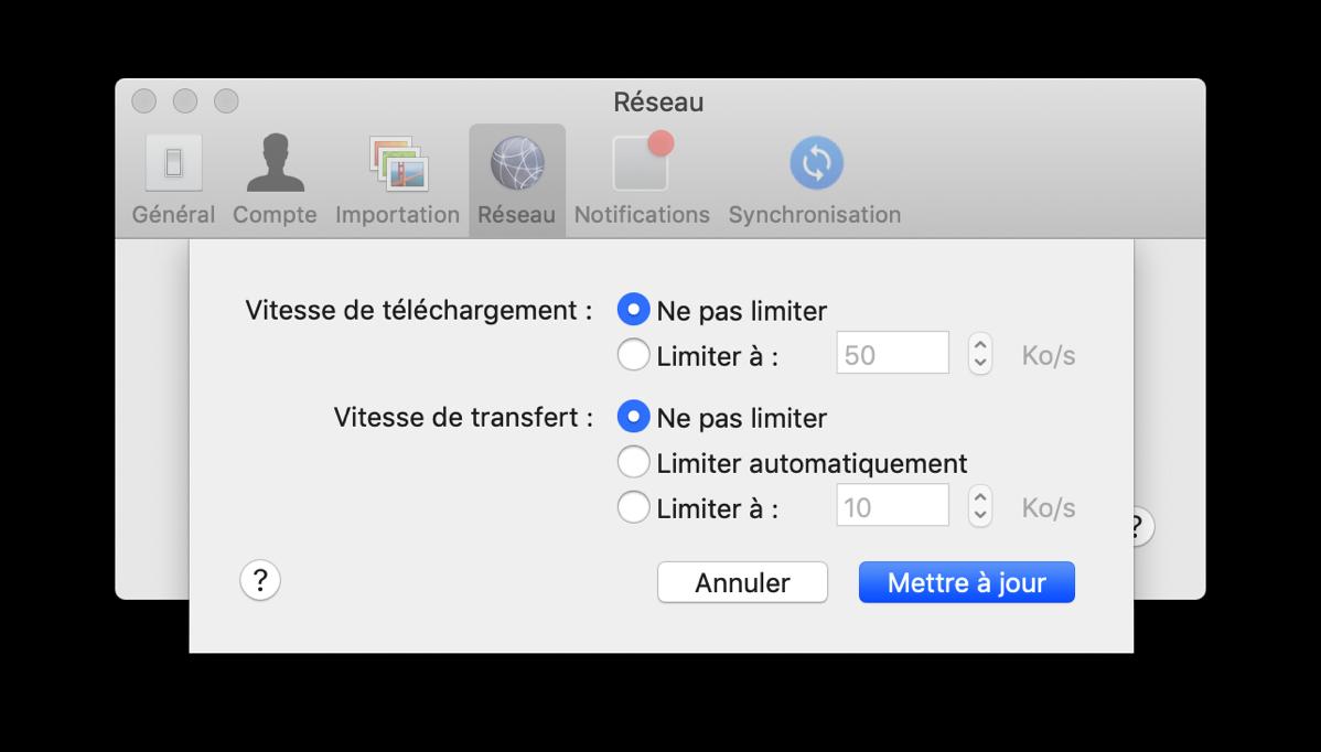 Dropbox réglage de réseau